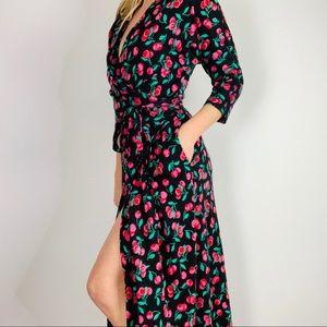 Vintage DVF cherry print black midi wrap dress